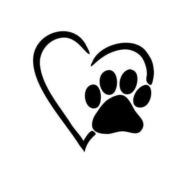 Heart with Paw Pet Rescue Decal - Jack and Lu