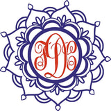 Yeti Mandala Two Color Three Letter Monogram Decal - Jack and Lu