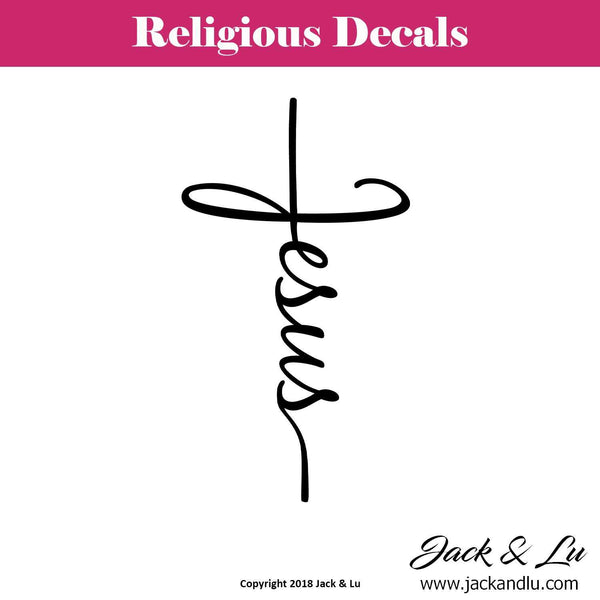 Jesus Cross Christian Vertical Decal - Jack and Lu