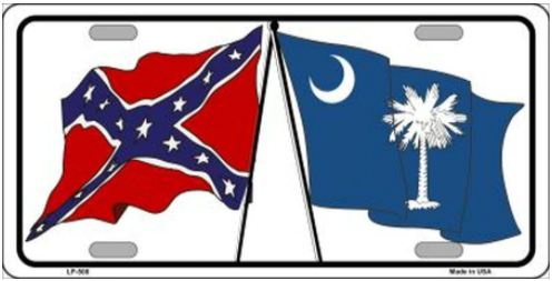 Confederate South Carolina State Flag Novelty Metal License Plate