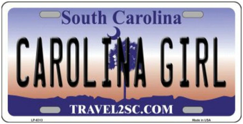 Carolina Girl South Carolina Novelty Metal License Plate