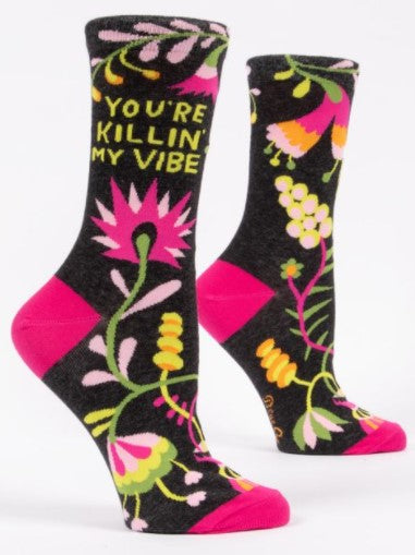 YOU'RE KILLIN' MY VIBE Women's Crew Socks - Jack and Lu