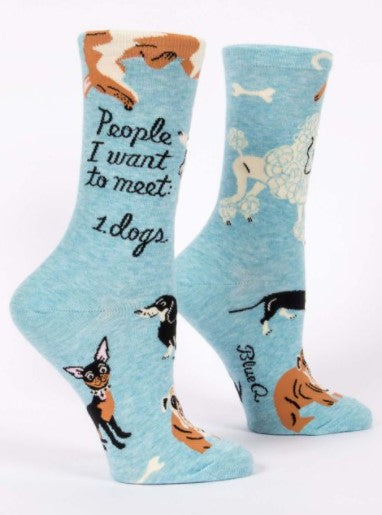PEOPLE I WANT TO MEET: DOGS Women's Crew Socks - Jack and Lu