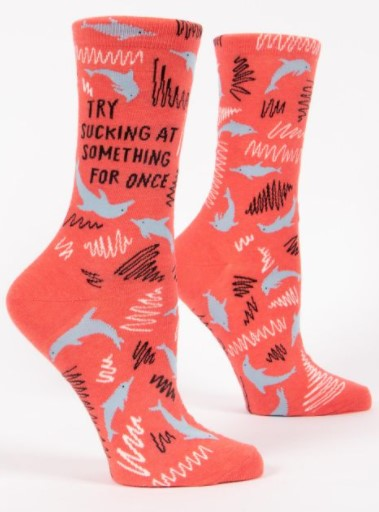 TRY SUCKING AT SOMETHING FOR ONCE Women's Crew Socks - Jack and Lu
