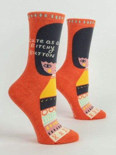 CUTE AS A BITCHY BUTTON Women's Crew Socks - Jack and Lu