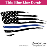 Tattered American Flag Thin Blue Line Police Officer Decal - Jack and Lu