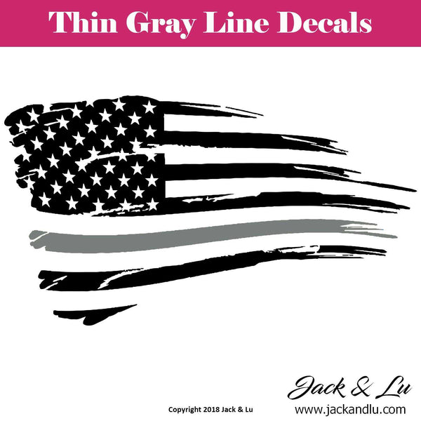 Tattered American Flag Thin Gray Line Corrections Decal - Jack and Lu