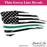 Tattered American Flag Thin Green Line Border Patrol Agents Decal - Jack and Lu