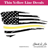 Tattered American Flag Thin Yellow Line Dispatcher Decal - Jack and Lu