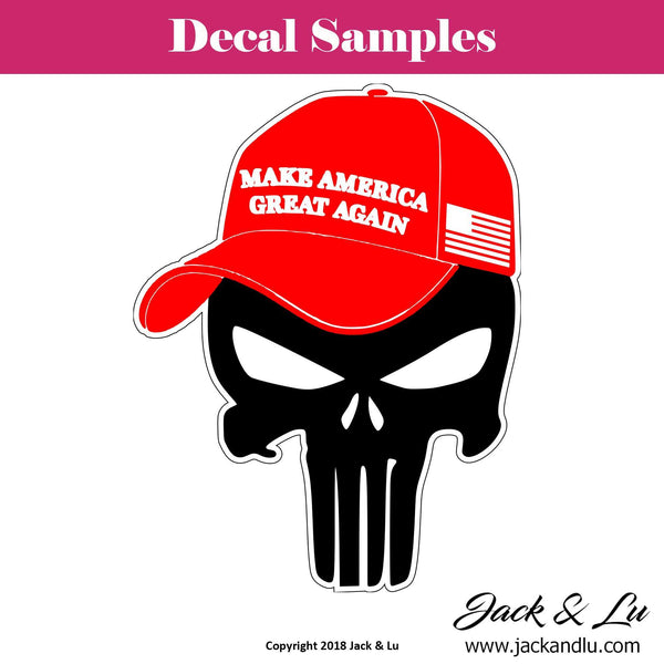 Make America Great Again | President Donald Trump Punisher Red Ball Cap Decal - Jack and Lu