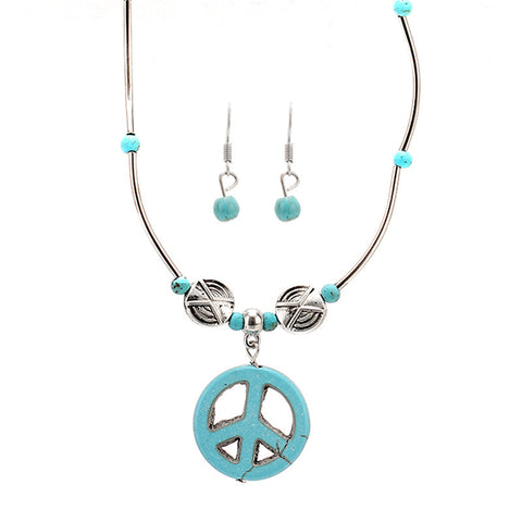 Turquoise Peace Necklace & Earring Set