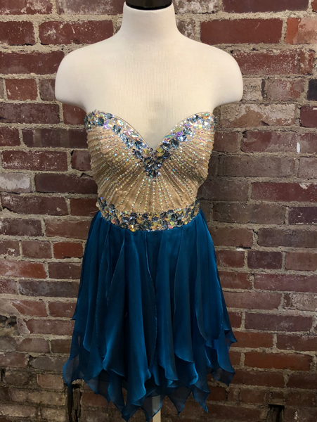 Blue Sherri Hill Short Dress Size 4