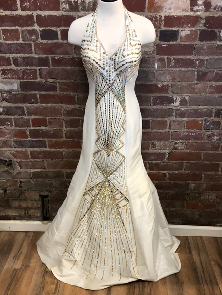 Mac Duggal White Prom Dress Size 2