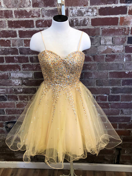 Mori Lee Gold Short Dress Size 1/2