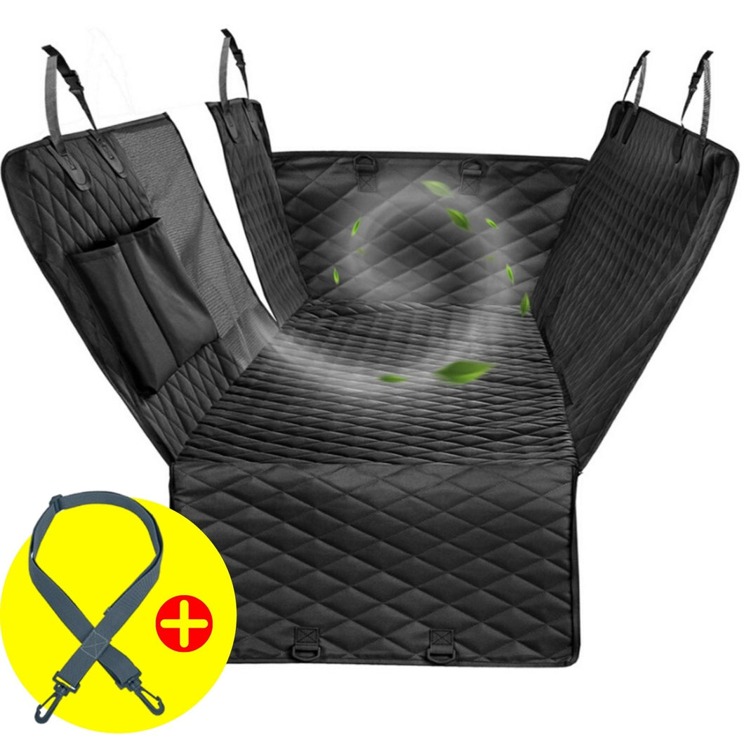 Dog car seat cover - Dog Backseat Hammock With Mesh visual window + BONUS dog car seat belt