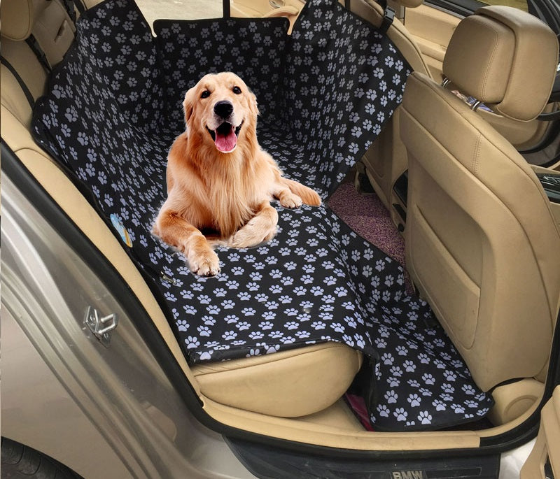 Dog car seat cover - Dog Backseat Hammock for all Cars & SUVs + BONUS dog car seat belt
