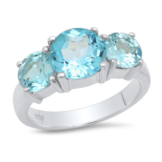 Sterling Silver Blue Topaz 3-Stone Ring 4.5ct