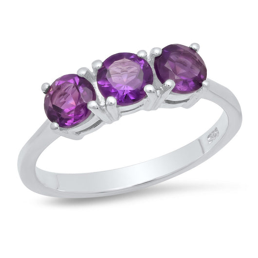 Sterling Silver 5mm Amethyst 3-Stone Ring 2ctw