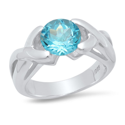 Sterling Silver Blue Topaz Hugs & Kisses Ring 2.5ctw