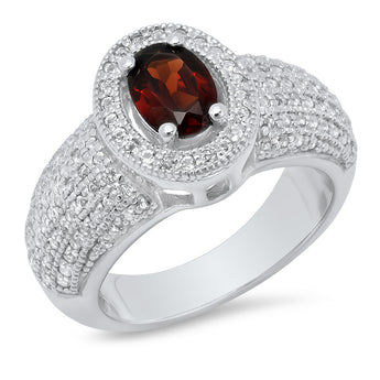 Sterling Silver Oval Garnet Ring with White Topaz accents 1.62CTW