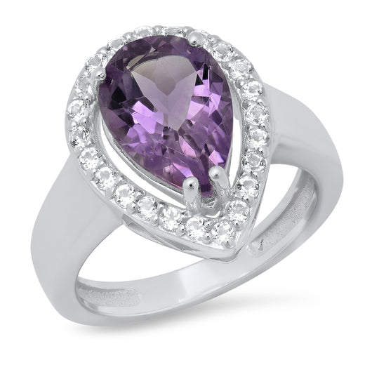Sterling Silver 12x8mm Amethyst with White Topaz accents-Stone Ring 3.35ctw