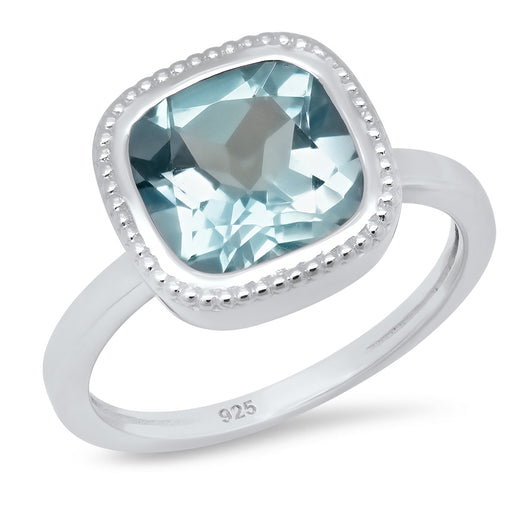 Sterling Silver Cushion Shaped 6.00ct Blue Topaz Ring