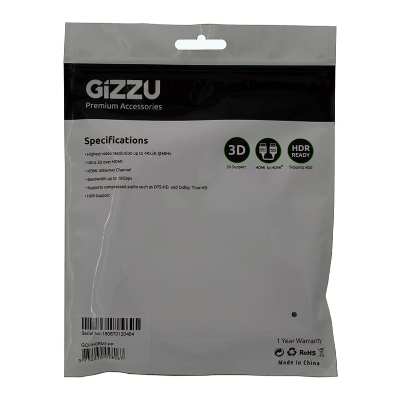 Gizzu High Speed V2.0 Hdmi 0.6m Cable With Ethernet Polyba