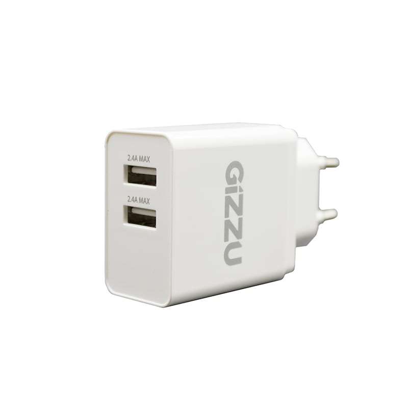 GIZZU Wall Charger Dual USB Port 3.4A - White