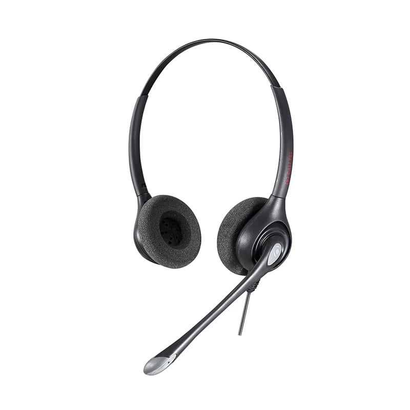 Calltel Hw361 N Stereo Ear Broadband Audio Noise Cancelling Headset Quick Disconnect Connector