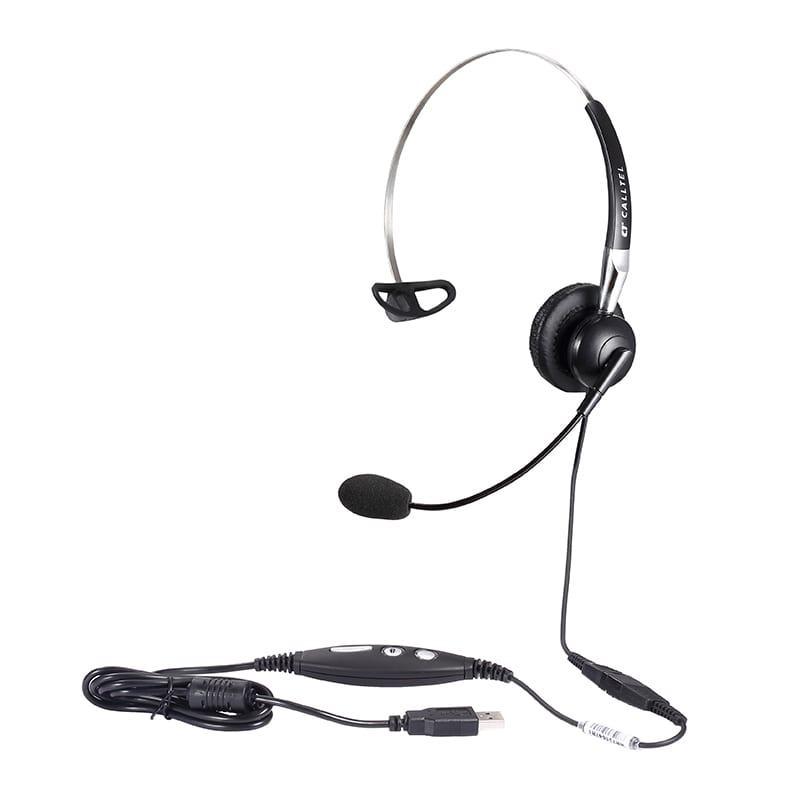 Calltel H650NC Mono-Ear Noise-Cancelling Headset + UC2000T Quick Disconnect USB Sound Card Adapter Cable