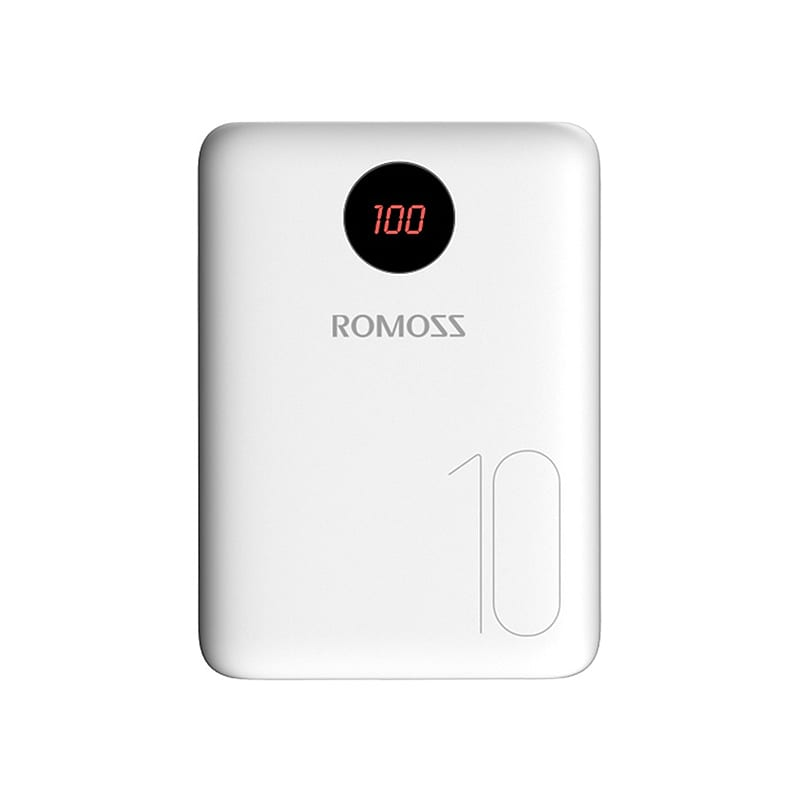 Romoss OM10 10 000mAh Input: Type C|Lightning|Micro USB|Output: Dual USB Power Bank - White