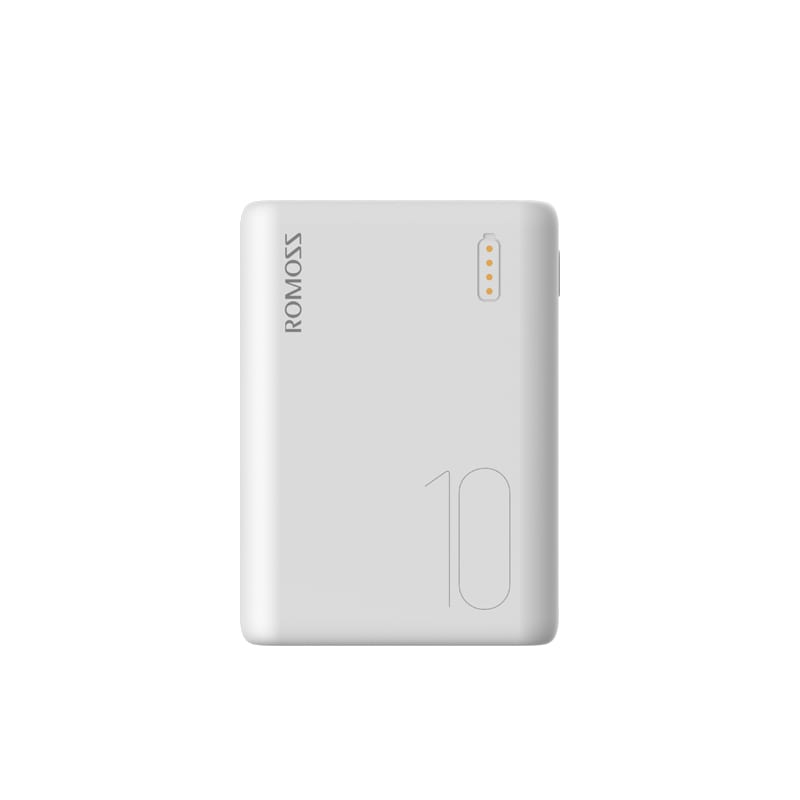 Romoss Simple 10 10000mAh Input: Type C|Lightning|Micro USB|Output: 2 x USB Power Bank - White