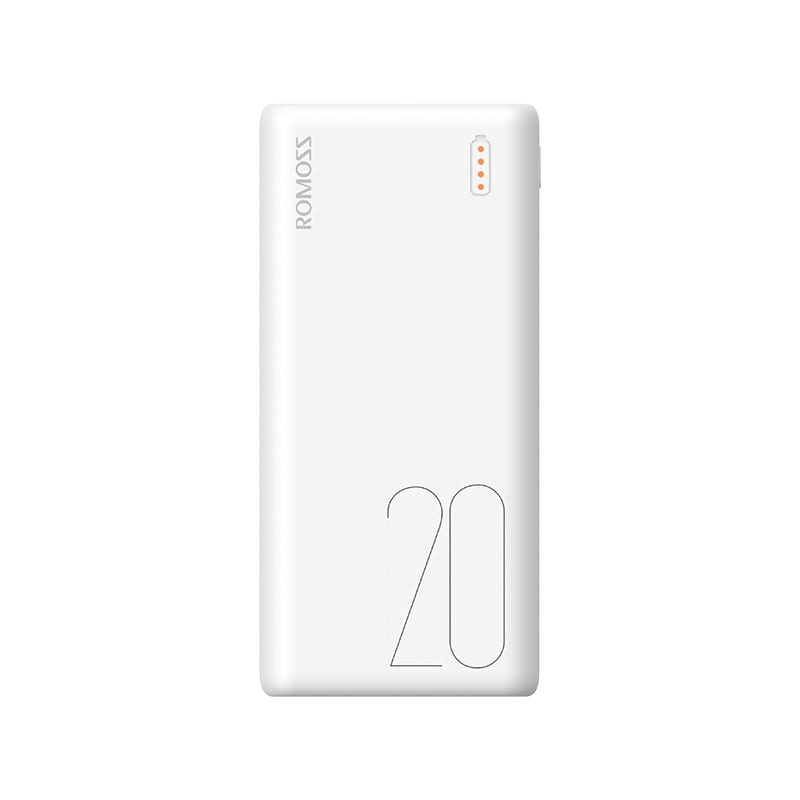 Romoss Simple 20 20000mAh Input: Type C|Lightning|Micro USB|Output: 2 x USB Power Bank - White