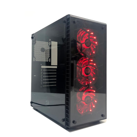 Redragon Daimondstorm Tempered Glass Front/Side|3 X Rgb Fan|Atx/Micro Atx Black