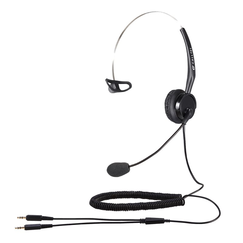 Calltel T400 Mono-Ear Noise-Cancelling Headset - Dual 3.5mm Jacks
