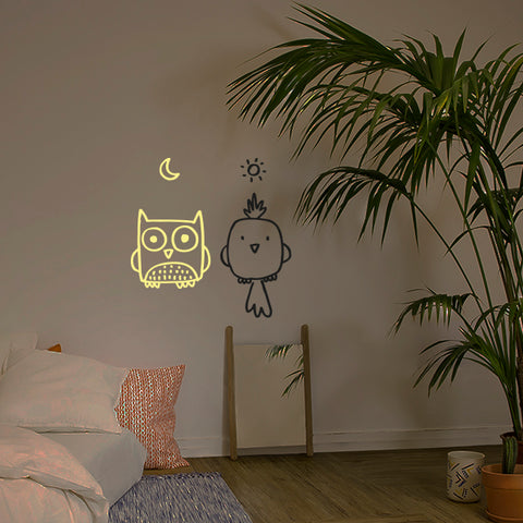 Muursticker light in the dark Uil Vogel Kinderkamer Chispum