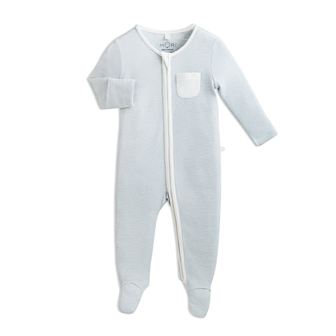 Zip-Up Pyjama - Blue Stripe - Mori