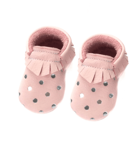 Moccasins Baby Silver Dots Little Lambo