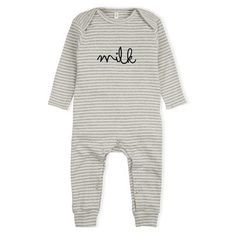 Playsuit Onesie Stripes Milk Organic Zoo