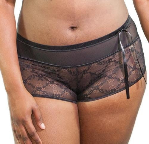 Inspire Psyche Terry Panties Lace Boyshort - Black