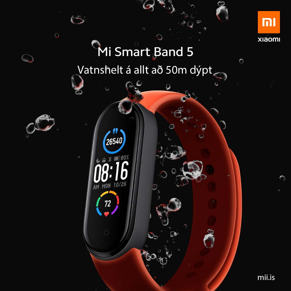 Mi Smart Band 5 - vatnshelt á 50m dýpt
