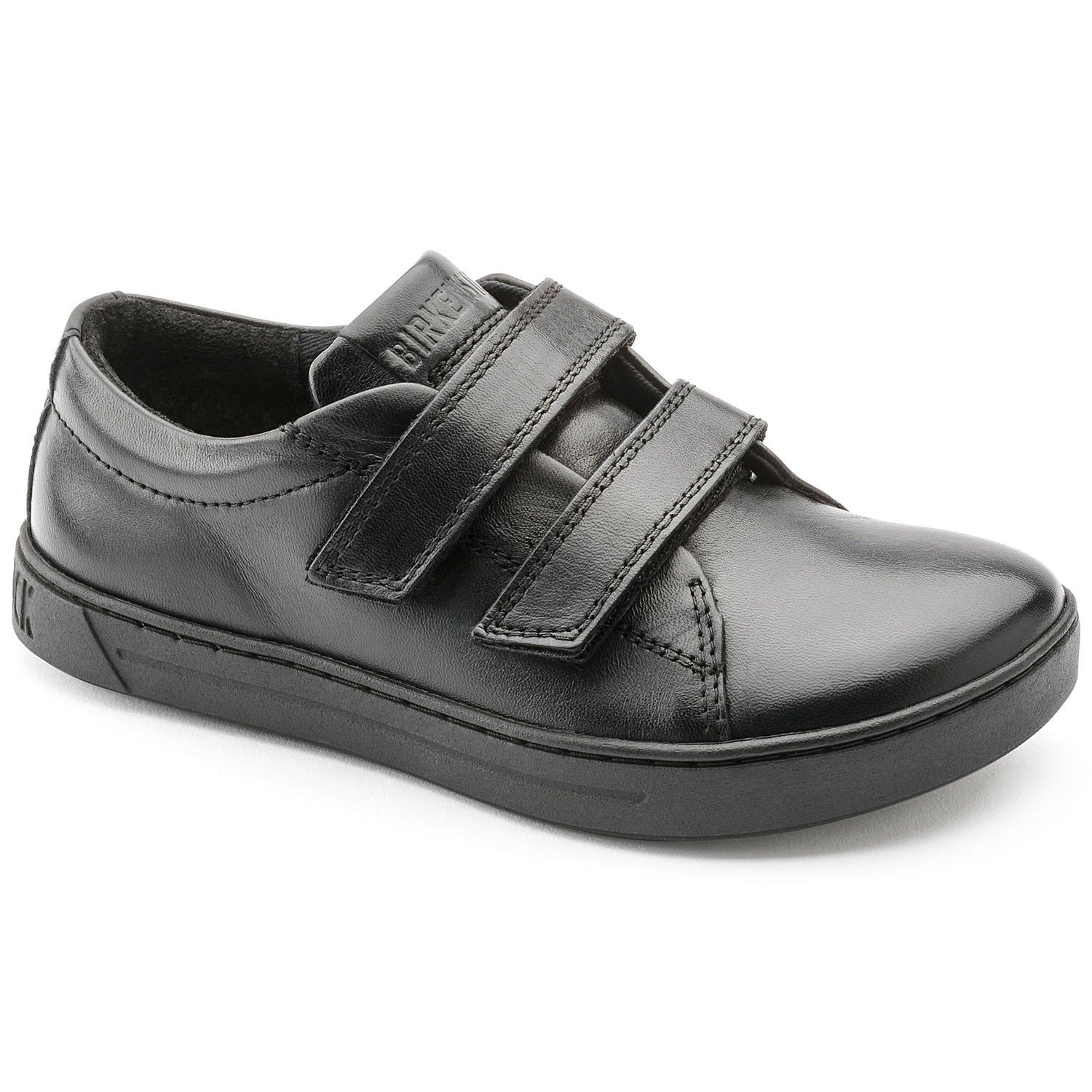Arran Velcro - Black Natural Leather Kids