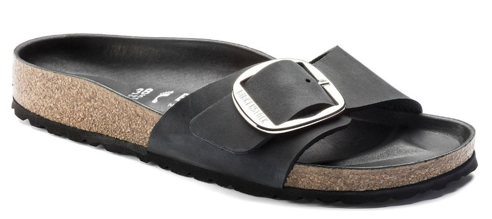 Madrid Big Buckle - Black Natural Leather