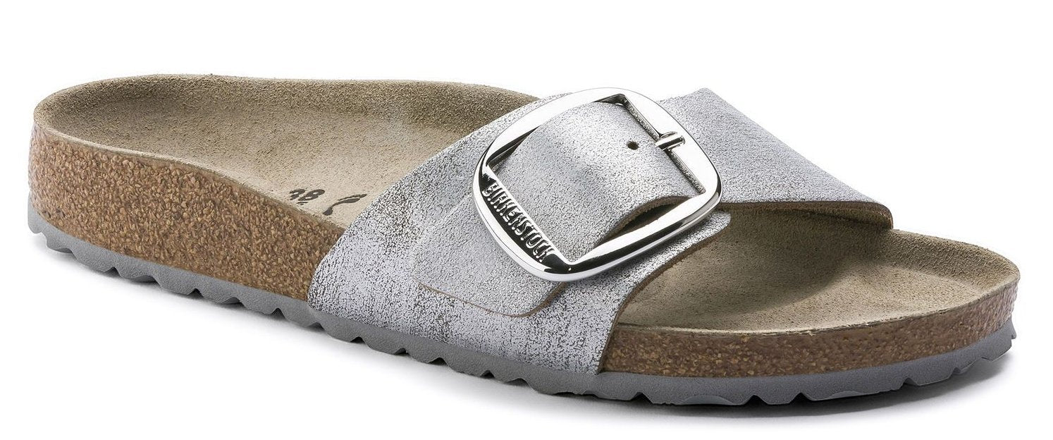 Madrid Big Buckle - Washed Metallic Blue Silver Leather