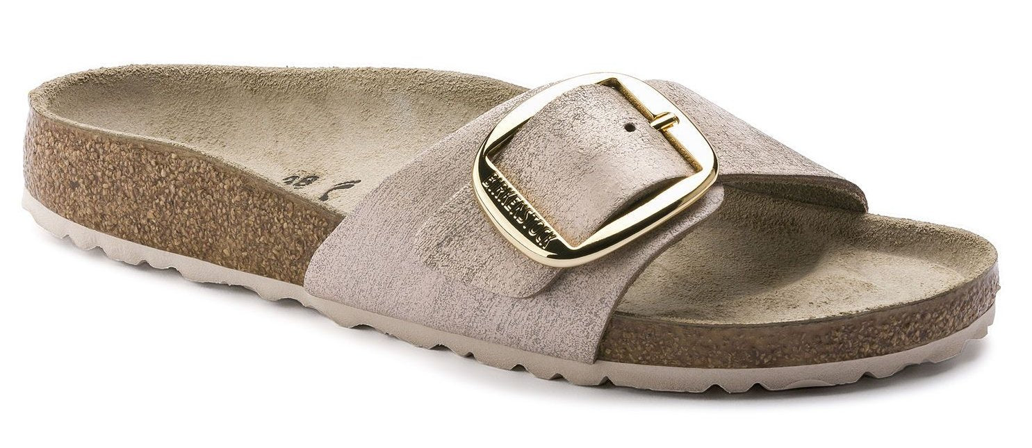 Madrid Big Buckle - Washed Metallic Rose Gold Leather