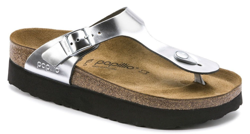 Gizeh Platform - Metallic Silver Leather