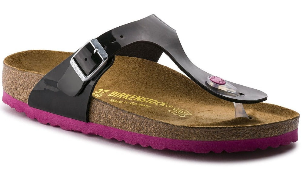 b458cf5ae67 Gizeh - Black Patent Birko-Flor with Pink Sole Kids