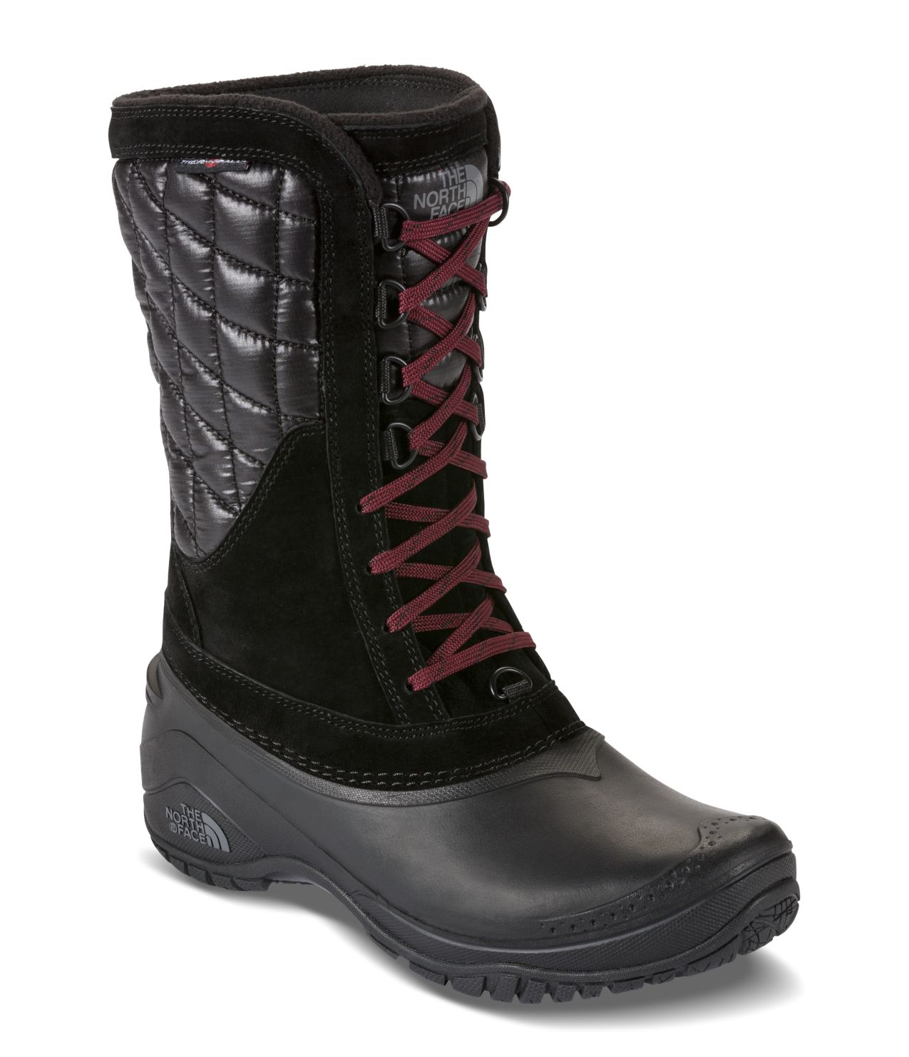Women's Thermoball Utility Mid - TNF Black / Deep Garnet Red