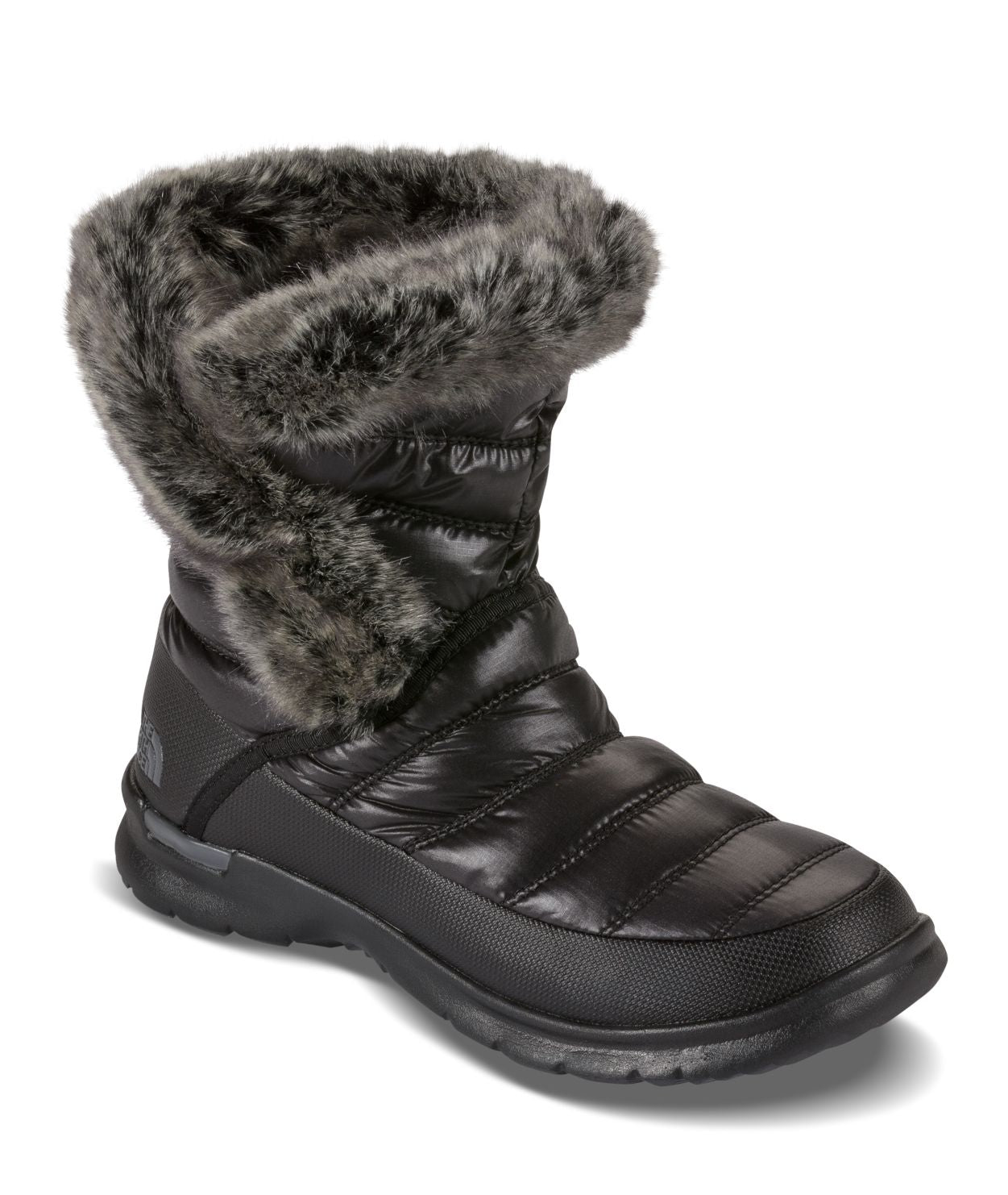Women's Thermoball Microbaffle Bootsie II - Shiny TNF Black / Smoked Pearl Grey
