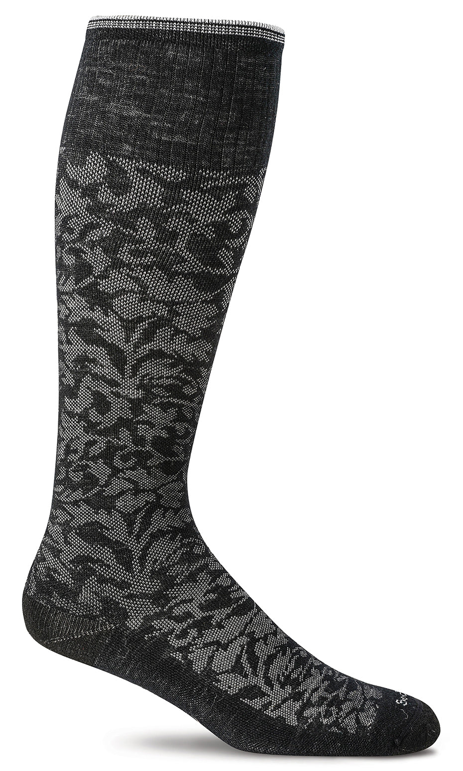 Damask Knee-High- Black Moderate Compression (15-20mmHg)